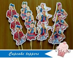 12 or 24 JoJo Siwa paper cupcake toppers Birthday decoration party supplies $8.00
