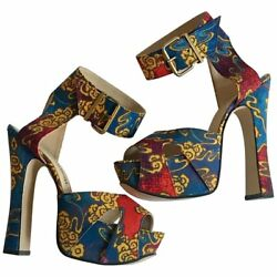 Vivienne Westwood Tea Garden Print Blue Gold and Red Platform Sandals US 10 UK 7