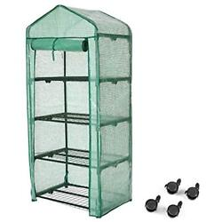 Finether 4-Tier Greenhouses Greenhouse With Clear Cover And Casters Portable For