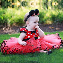 Minnie Mouse Costume Skirts Toddlers Polka Dot Girls Dress amp;Headband 1 5 Years $13.98