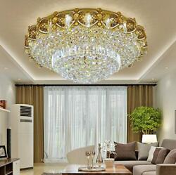 LED Remote Control K9 Crystal Gold Ceiling Light Chandeliers Lighting Lamps 2669