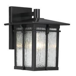 Black Exterior Wall Light Granite Textured Glass Modern Contemporary Lamp Sconce $77.99