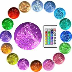 Color Changing 10m LED battery Fairy String Lights Copper Wire W 24 Key Remote $6.99