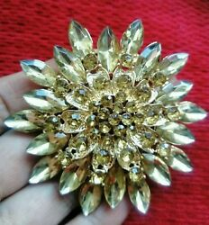 Gold Tone Crystal Large Sun Flower BROOCH Pin Broach Badge Diamante Ladies Gift