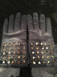VALENTINO ROCK STUD GLOVES - LADIES' SIZE  8 LEATHER WITH CASHMERE INSIDE