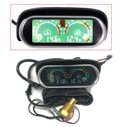 12V LCD Car Water Temp Gauge Meter -10-120℃+ Voltage Meter with Sun shield Cover