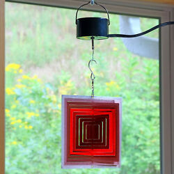 Sunnydaze Ruby Red Square 3D Wind Spinner with Electric Operated Motor - 6-Inch