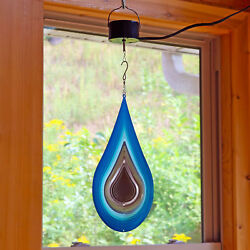 Sunnydaze Waterdrop Wind Spinner with Electric Operated Motor - 12-Inch