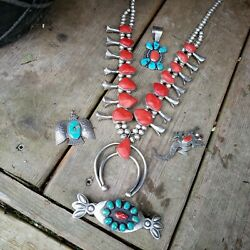 Native American indian turquoise huge sterling silver squash blossom necklace
