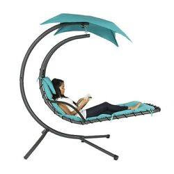 Outdoor Chaise Lounge Chair Hanging Swing Hammock Lounger Canopy Pool Patio Deck