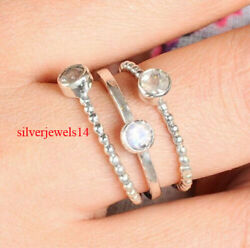 Crystal 3 Stackable Thin Bands 925 Sterling Silver Jewelry gs138