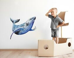 Humpback Whale Wall Decal Watercolor Wall Sticker Removable Sea Ocean Kids Decor $29.99