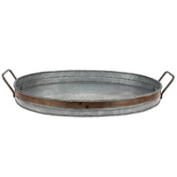 Galvanized Metal Decorative Rustic Round Serving Butler Tray Rust Trim Handles