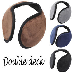 Double Deck Women Men Knit Cashmere Winter Outdoor Earmuffs With Ear Warmer