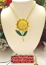 BETSEY JOHNSON CRYSTAL AND ENAMEL YELLOW SUNFLOWER PENDANT NECKLACE BROOCH $24.99
