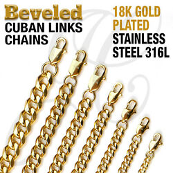 18K Gold Plated Beveled Cuban Links Stainless Steel 316L Chain Necklace 14