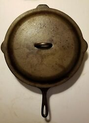 Vintage Lodge SK #14 Cast Iron Skillet 3 Notch Heat Ring LID COVER campfire cook