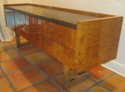 1960s Authentic Milo Baughman CANTILEVERED CREDENZA Chrome Base Leather Museum