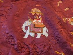 Gorgeous Hand Embroidered Elephant Bedspread Blanket! Made in India!