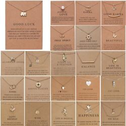 Women Animal Owl Cat Clavicle Short Paper Card Necklace Pendant Gold Chain Gift