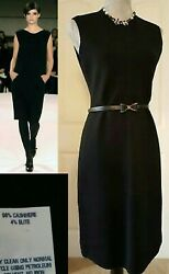 *$4000 OSCAR DE LA RENTA GORGEOUS BLACK CASHMERE WOOL RUNWAY DRESS US M