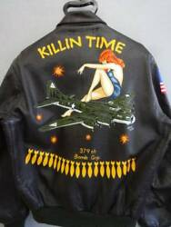 A-2 Flight Jacket Men's Size 40 Back Paint KILLIN TIME Stars and Stripes Y09