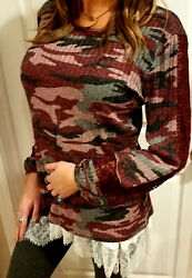 Wine Camo Camouflage Crochet Lace Cuff Henley Boho Long Sleeve Thermal Top Shirt $19.89