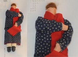 VINTAGE DOLL Hand Made Wool Flannel Dress Painted Face Hair of Mohair OOAK: