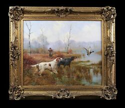 Antique oil painting on canvas duck hunting scene dog(s) framed French 20th