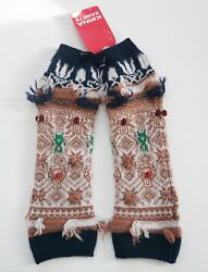 New BARRIE Twiggy 100% CASHMERE Fingerless Gloves One Size SCOTLAND