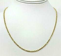10K Solid Yellow Gold Necklace Gold Rope Chain 16