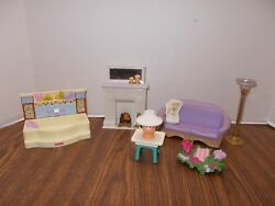 Fisher Price Loving Family Floor Lamp Couch Fireplace Newspaper Bath Tub