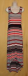 Spense women's coral red black striped maxi sundress high low dress top M $78