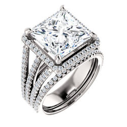 3.40 Ct Square Moissanite Forever One Halo triple Band pave engagement ring