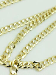 14K Solid Yellow Gold Cuban Link Chain Necklace 18