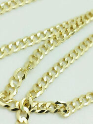 14K Solid Yellow Gold Cuban Link Chain Necklace 30