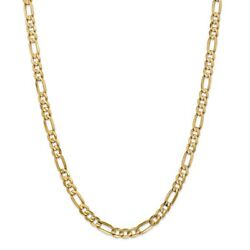14k Yellow Gold 6mm Solid Concave Open Figaro Link w Lobster Clasp 18
