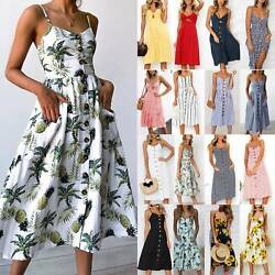 Women Strappy Button Swing Midi Dress Solid Floral Summer Holiday Beach Sundress $17.66
