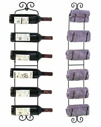 Multi-Purpose Wall Mount Rack; Wine Bottles Towels Hats and More - WNR04