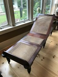 Mahogany Caned Folding Lounge Campaign Chair Antique Daybed Boho Interior Design