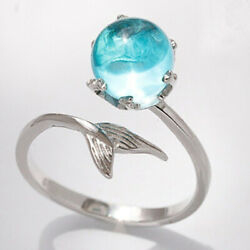 Women Mermaid Tail Blue Crystal Bubble Ocean Sea Marine Beach Silver Ring Gift