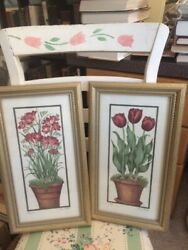 Lot of 2 Fiona Butler Vintage Prints Signed: 1 pcs Tulips & 1 pcs Freesia