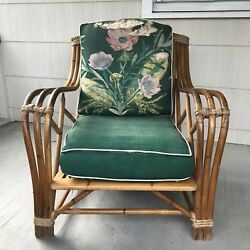 Vintage Heywood Wakefield mid-century 1950s Rattan porch furniture sofa chair