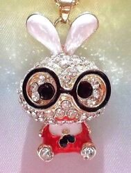 BETSEY JOHNSON CUTE CRYSTAL AND ENAMEL INLAY RABBIT PENDANT CHAIN NECKLACE $24.99