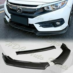 For 2016-2020 Honda Civic Carbon Style Front Bumper Body Kit Spoiler Lip 3PCS $44.99