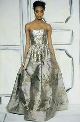 $5000 OSCAR DE LA RENTA GORGEOUS RUNWAY GOLD PURPLE SILK BROCADE DRESS GOWN 18
