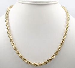 14K Solid Yellow Gold 4MM Rope Chain Thick Necklace Bracelet  Mens Women 18