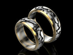 Unique Signs amp; Symbols Two Tone Wedding Band Unisex In 925 Sterling Silver Ring $178.00