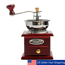 Manual Wooden Burr Coffee Grinder Vintage Hand Coffee Mill w Ceramic Hand