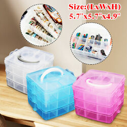 Clear Plastic 3-Layers Jewelry Bead Storage Box Container Organizer Case Craft !